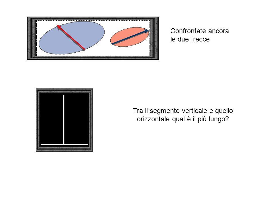 Confrontate ancora le due frecce Tra il segmento verticale e quello orizzontale qual è il più lungo?