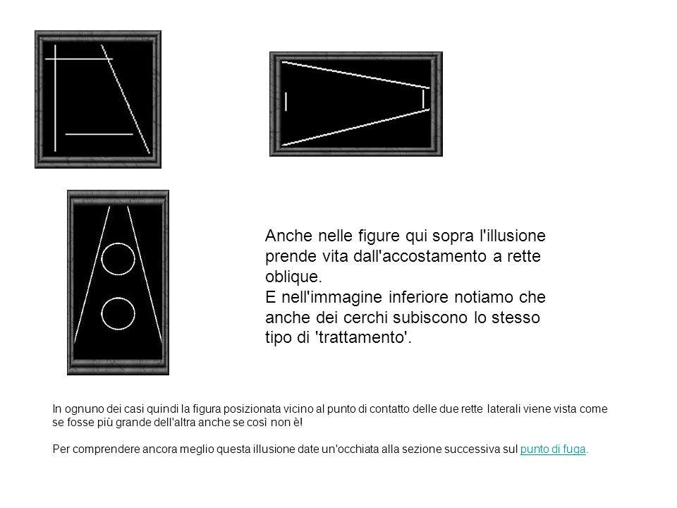 Anche nelle figure qui sopra l'illusione prende vita dall'accostamento a rette oblique. E nell'immagine inferiore notiamo che anche dei cerchi subisco