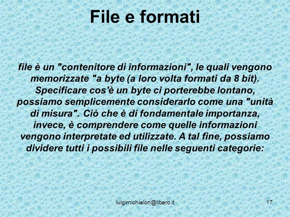 luigimichielon@libero.it17 File e formati file è un contenitore di informazioni , le quali vengono memorizzate a byte (a loro volta formati da 8 bit).