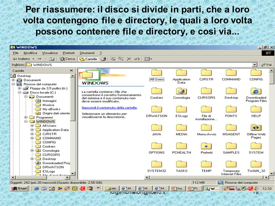 luigimichielon@libero.it19 Per riassumere: il disco si divide in parti, che a loro volta contengono file e directory, le quali a loro volta possono contenere file e directory, e così via...
