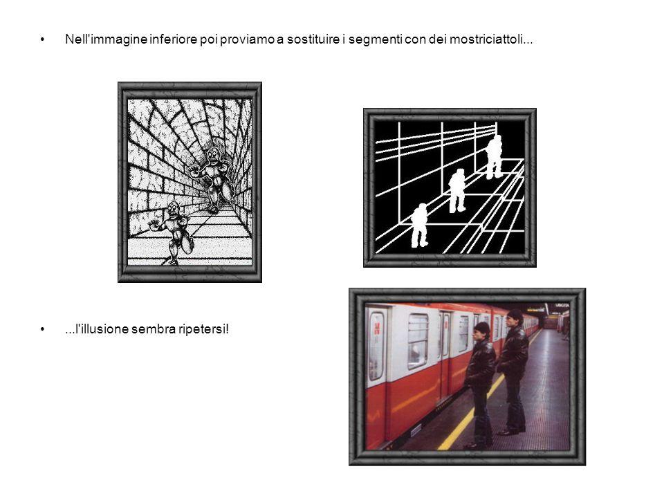 Nell immagine inferiore poi proviamo a sostituire i segmenti con dei mostriciattoli......l illusione sembra ripetersi!