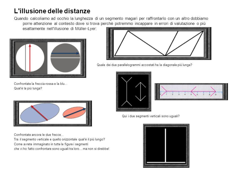 L illusione delle distanze Quando calcoliamo ad occhio la lunghezza di un segmento magari per raffrontarlo con un altro dobbiamo porre attenzione al contesto dove si trova perchè potremmo incappare in errori di valutazione o più esattamente nell illusione di Müller-Lyer: Quale dei due parallelogrammi accostati ha la diagonale più lunga.