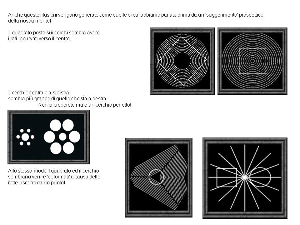 Anche queste illusioni vengono generate come quelle di cui abbiamo parlato prima da un suggerimento prospettico della nostra mente.