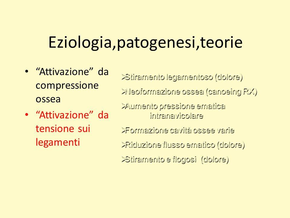 Eziologia,patogenesi,teorie Attivazione da compressione ossea Attivazione da tensione sui legamenti Stiramento legamentoso (dolore) Stiramento legamen