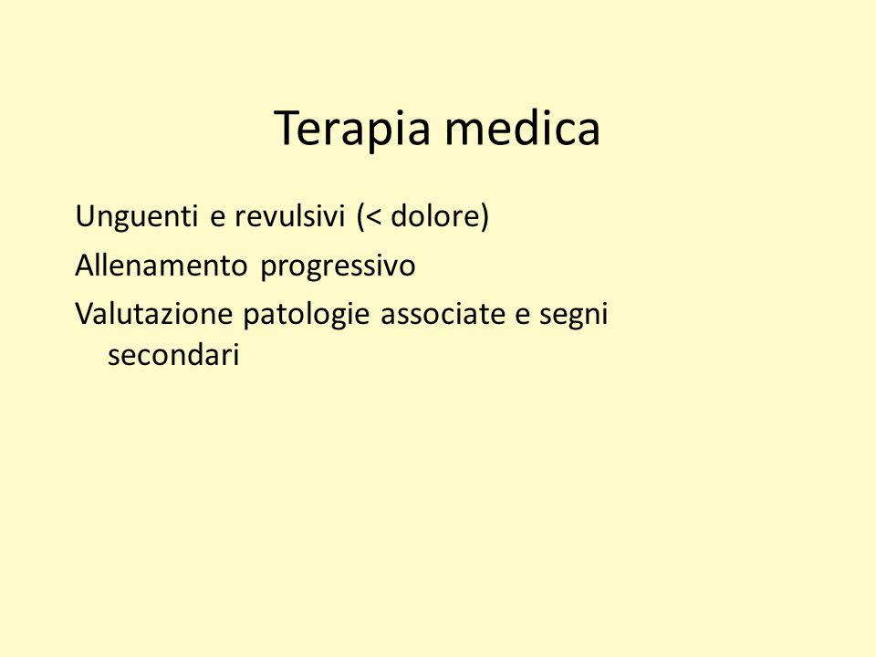 Terapia medica Unguenti e revulsivi (< dolore) Allenamento progressivo Valutazione patologie associate e segni secondari