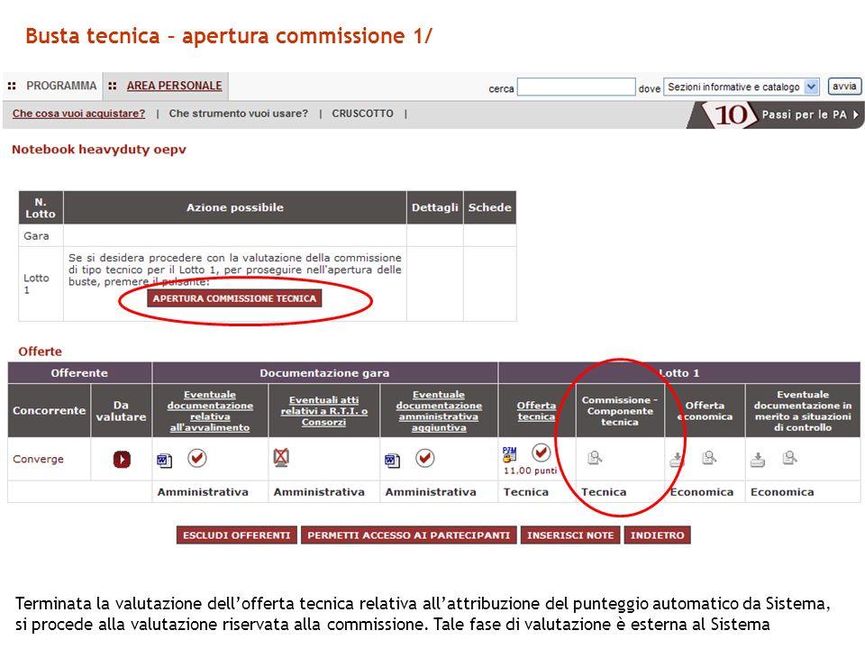 Busta tecnica – apertura commissione 1/ Terminata la valutazione dellofferta tecnica relativa allattribuzione del punteggio automatico da Sistema, si procede alla valutazione riservata alla commissione.