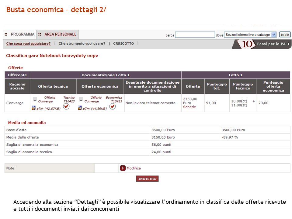 Busta economica – dettagli 2/ Accedendo alla sezione Dettagli è possibile visualizzare lordinamento in classifica delle offerte ricevute e tutti i documenti inviati dai concorrenti