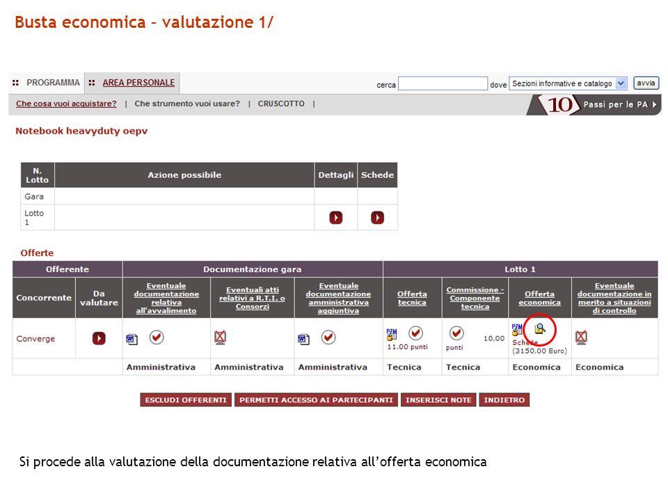 Busta economica – valutazione 1/ Si procede alla valutazione della documentazione relativa allofferta economica