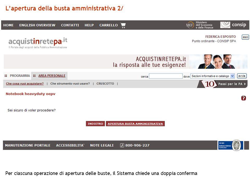 Lapertura della busta amministrativa 2/ Per ciascuna operazione di apertura delle buste, il Sistema chiede una doppia conferma