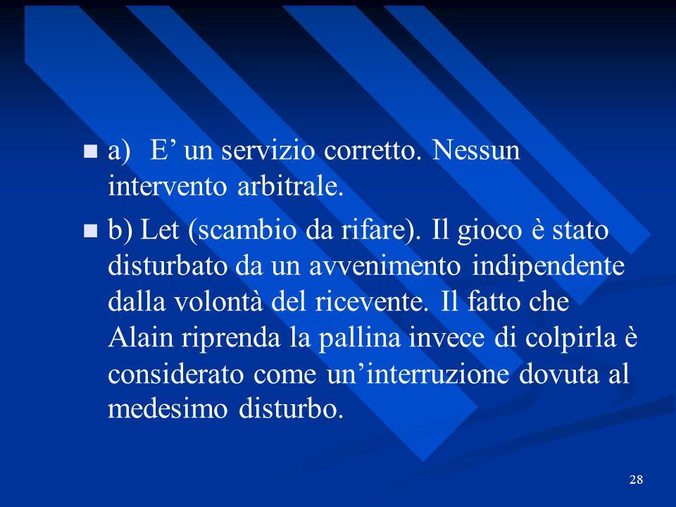 28 a)E un servizio corretto. Nessun intervento arbitrale. b) Let (scambio da rifare). Il gioco è stato disturbato da un avvenimento indipendente dalla