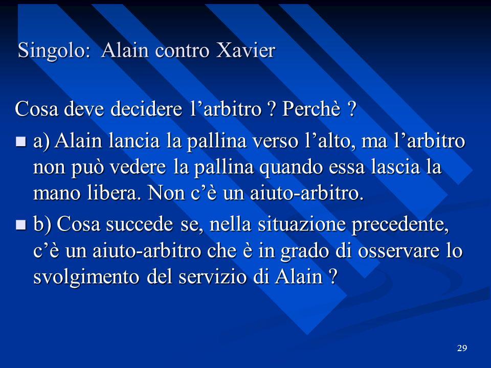 29 Singolo: Alain contro Xavier Cosa deve decidere larbitro ? Perchè ? a) Alain lancia la pallina verso lalto, ma larbitro non può vedere la pallina q