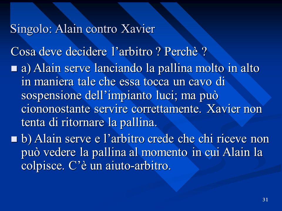 31 Singolo: Alain contro Xavier Cosa deve decidere larbitro ? Perchè ? a) Alain serve lanciando la pallina molto in alto in maniera tale che essa tocc