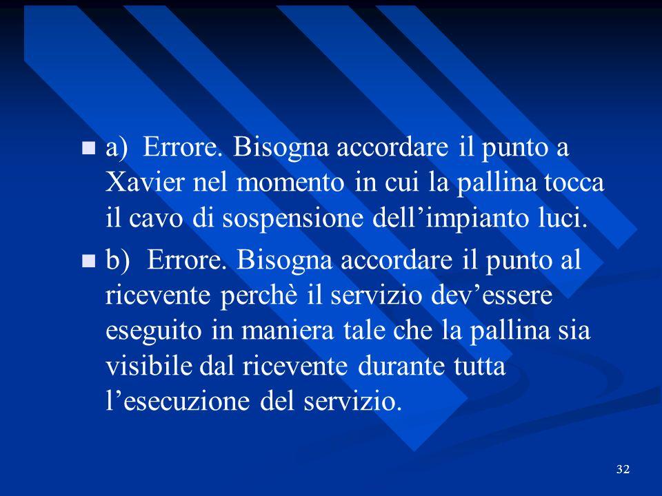 32 a) Errore. Bisogna accordare il punto a Xavier nel momento in cui la pallina tocca il cavo di sospensione dellimpianto luci. b)Errore. Bisogna acco
