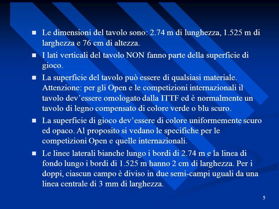 5 Le dimensioni del tavolo sono: 2.74 m di lunghezza, 1.525 m di larghezza e 76 cm di altezza. I lati verticali del tavolo NON fanno parte della super