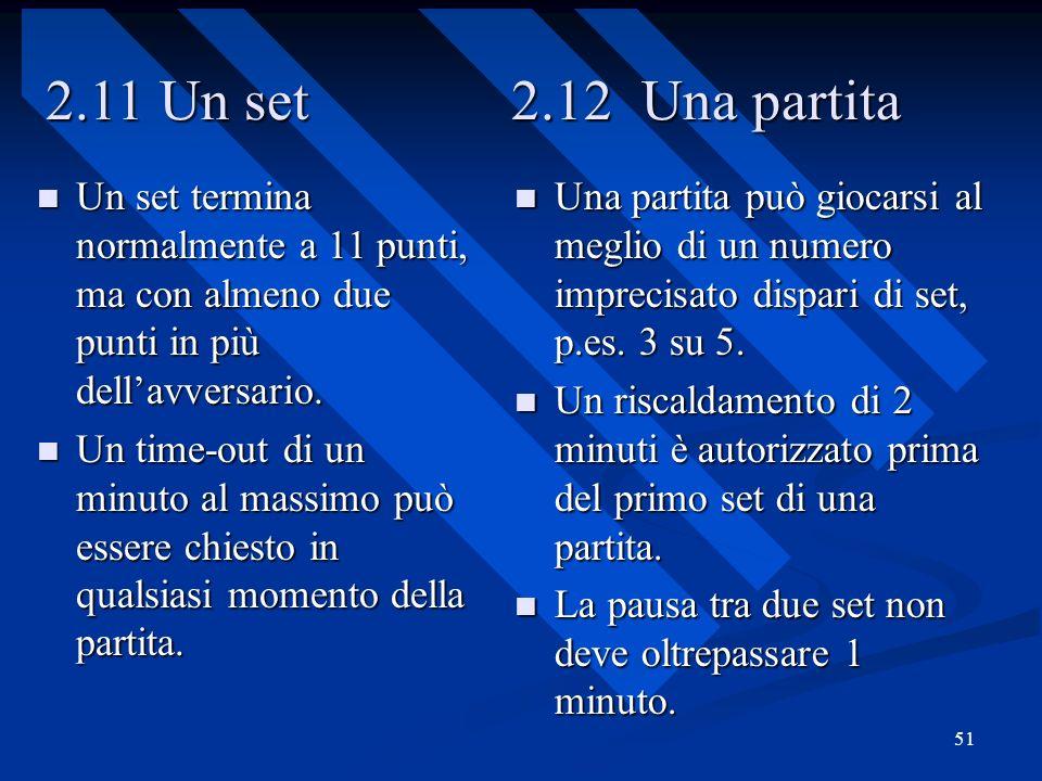 51 2.11 Un set 2.12 Una partita Un set termina normalmente a 11 punti, ma con almeno due punti in più dellavversario. Un set termina normalmente a 11
