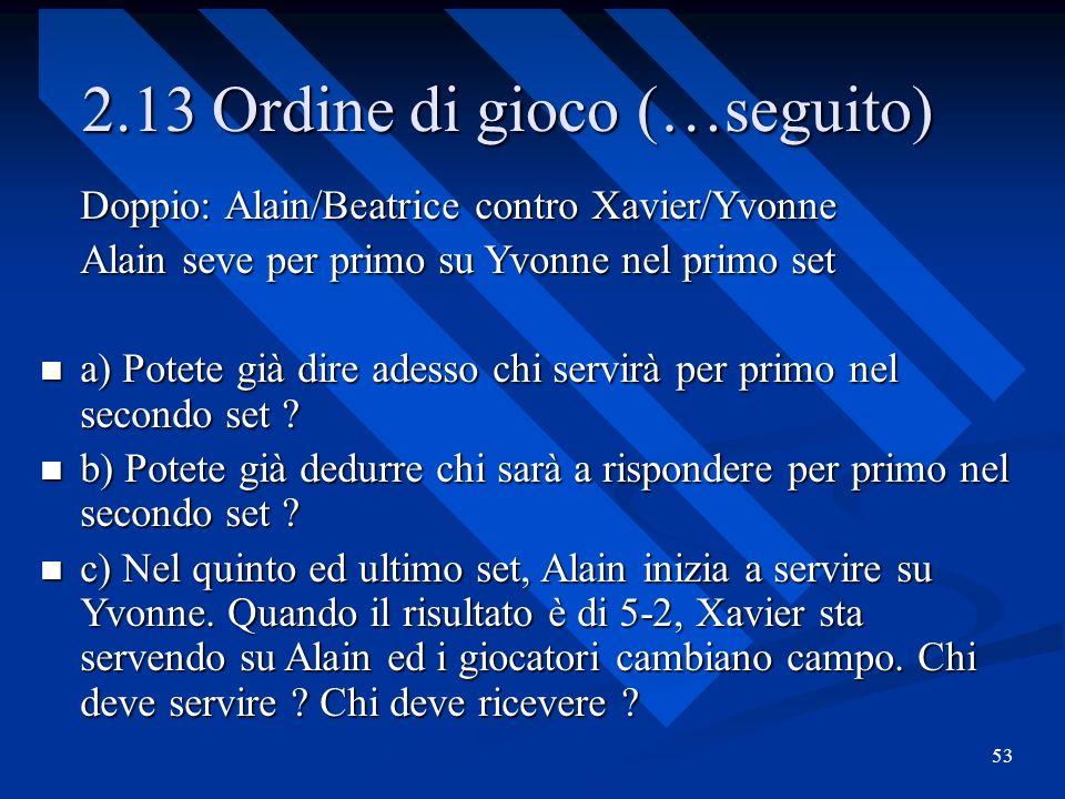 53 2.13 Ordine di gioco (…seguito) Doppio: Alain/Beatrice contro Xavier/Yvonne Alain seve per primo su Yvonne nel primo set a) Potete già dire adesso