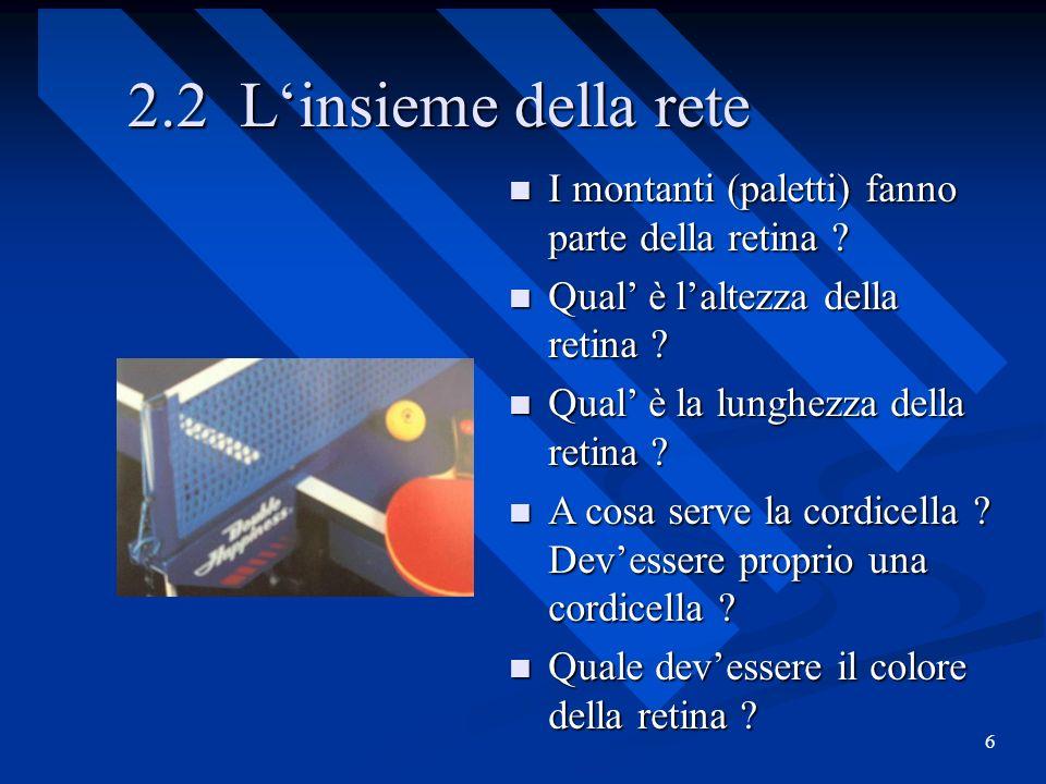 6 2.2 Linsieme della rete I montanti (paletti) fanno parte della retina ? I montanti (paletti) fanno parte della retina ? Qual è laltezza della retina