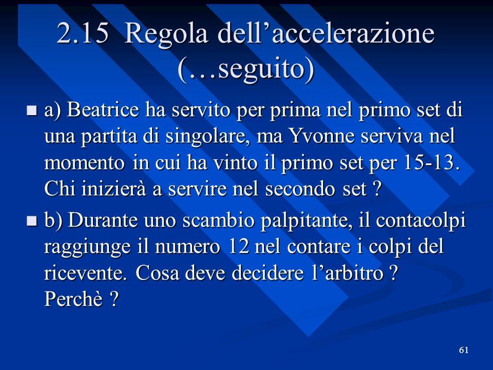 61 2.15 Regola dellaccelerazione (…seguito) a) Beatrice ha servito per prima nel primo set di una partita di singolare, ma Yvonne serviva nel momento