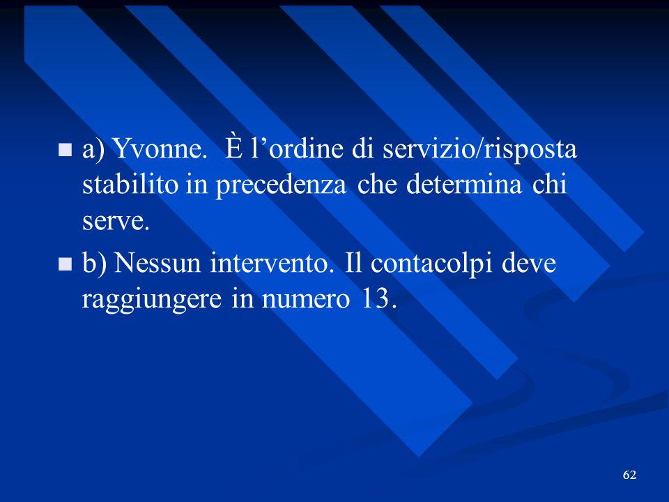 62 a) Yvonne. È lordine di servizio/risposta stabilito in precedenza che determina chi serve. b) Nessun intervento. Il contacolpi deve raggiungere in