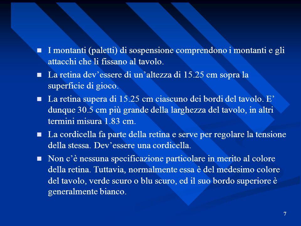 7 I montanti (paletti) di sospensione comprendono i montanti e gli attacchi che li fissano al tavolo. La retina devessere di unaltezza di 15.25 cm sop