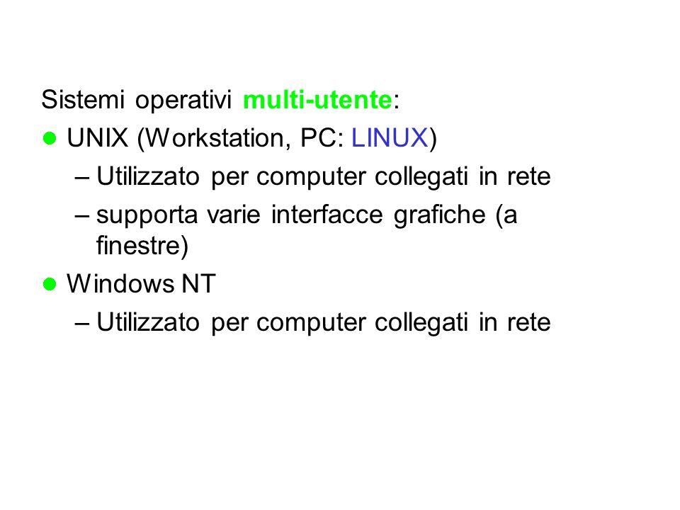 Sistemi operativi multi-utente: UNIX (Workstation, PC: LINUX) –Utilizzato per computer collegati in rete –supporta varie interfacce grafiche (a finestre) Windows NT –Utilizzato per computer collegati in rete