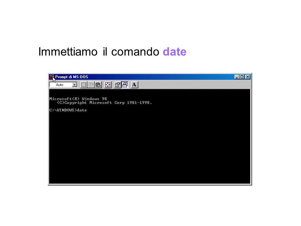 Immettiamo il comando date