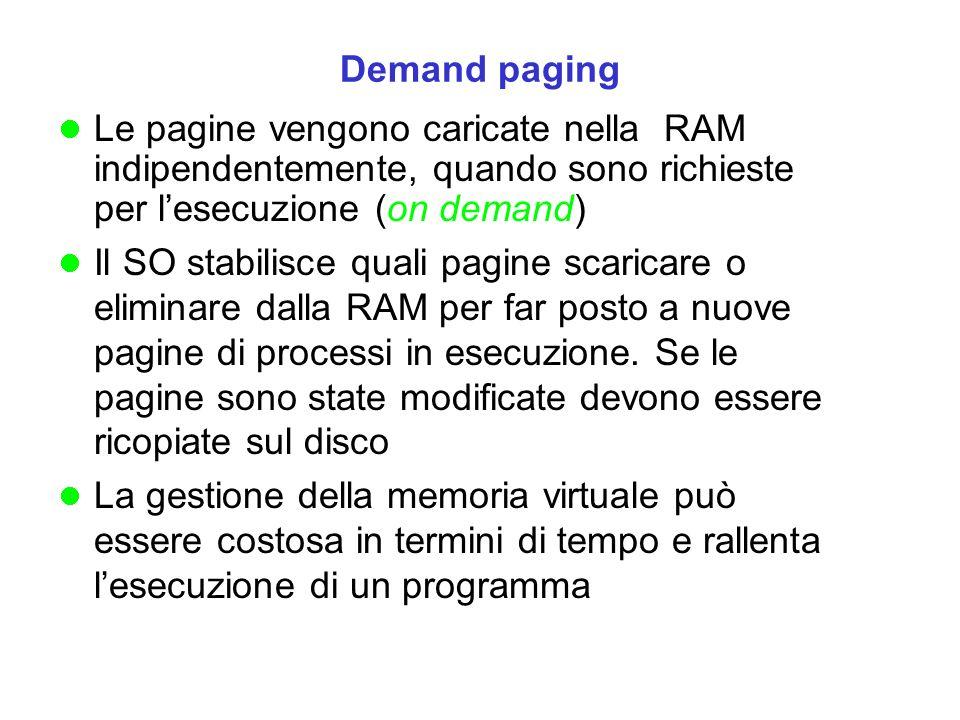 Le pagine vengono caricate nella RAM indipendentemente, quando sono richieste per lesecuzione (on demand) Il SO stabilisce quali pagine scaricare o eliminare dalla RAM per far posto a nuove pagine di processi in esecuzione.