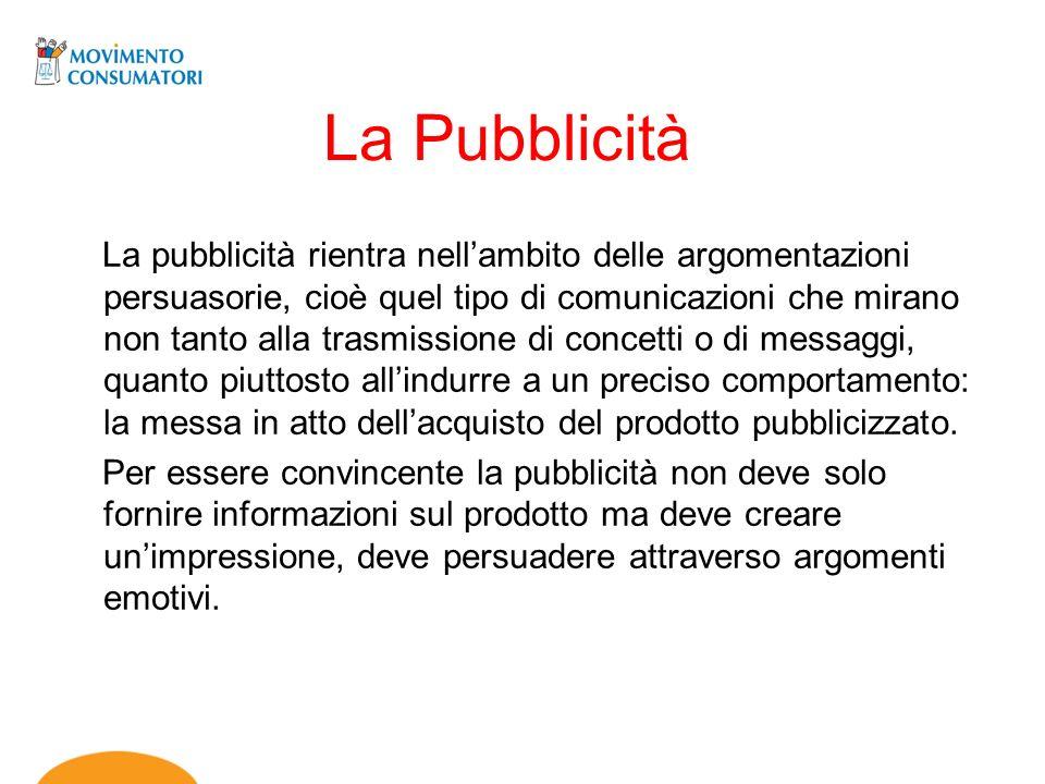La Pubblicità La pubblicità rientra nellambito delle argomentazioni persuasorie, cioè quel tipo di comunicazioni che mirano non tanto alla trasmission