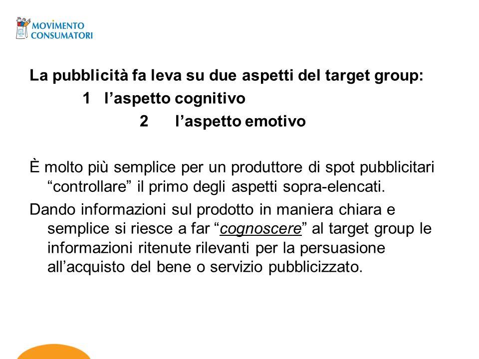 La pubblicità fa leva su due aspetti del target group: 1 laspetto cognitivo 2 laspetto emotivo È molto più semplice per un produttore di spot pubblici