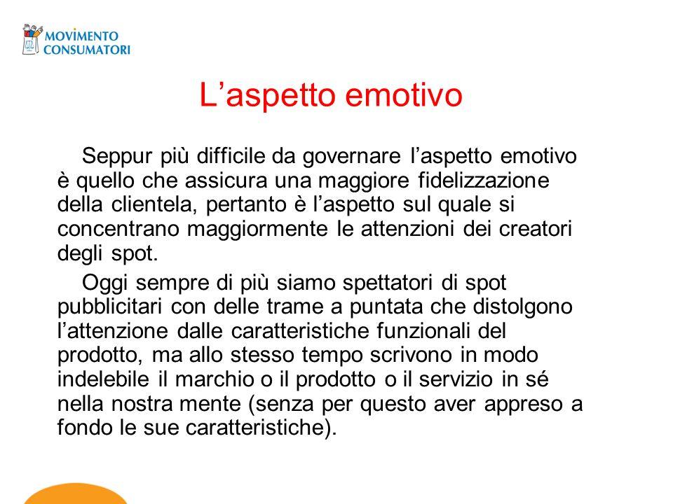 Laspetto emotivo Seppur più difficile da governare laspetto emotivo è quello che assicura una maggiore fidelizzazione della clientela, pertanto è lasp