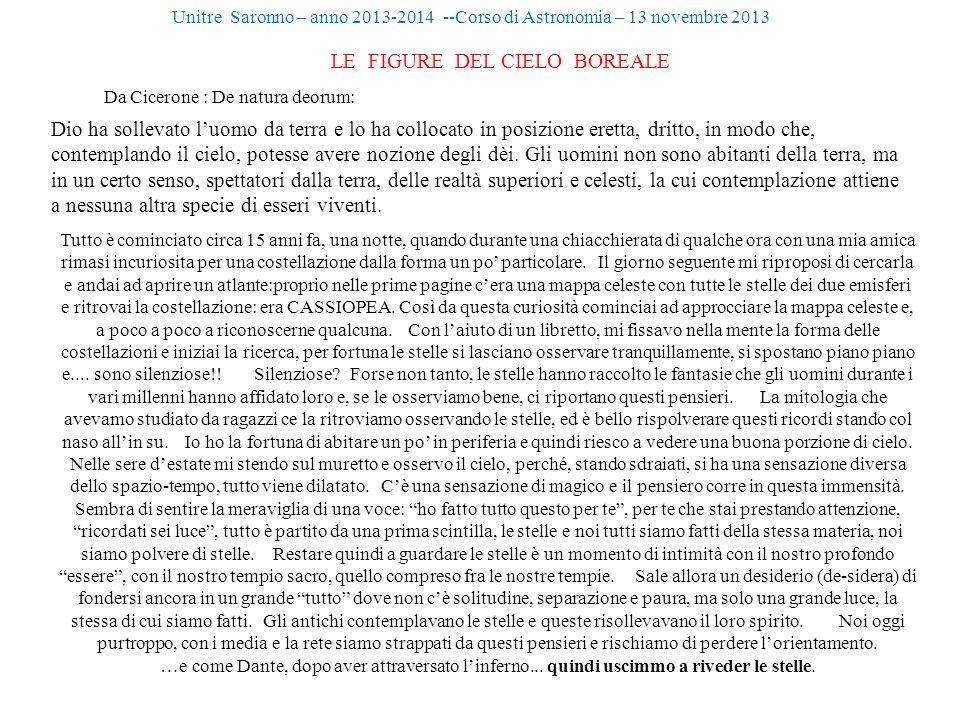Unitre Saronno – anno 2013-2014 --Corso di Astronomia – 13 novembre 2013 LE FIGURE DEL CIELO BOREALE Da Cicerone : De natura deorum: Dio ha sollevato
