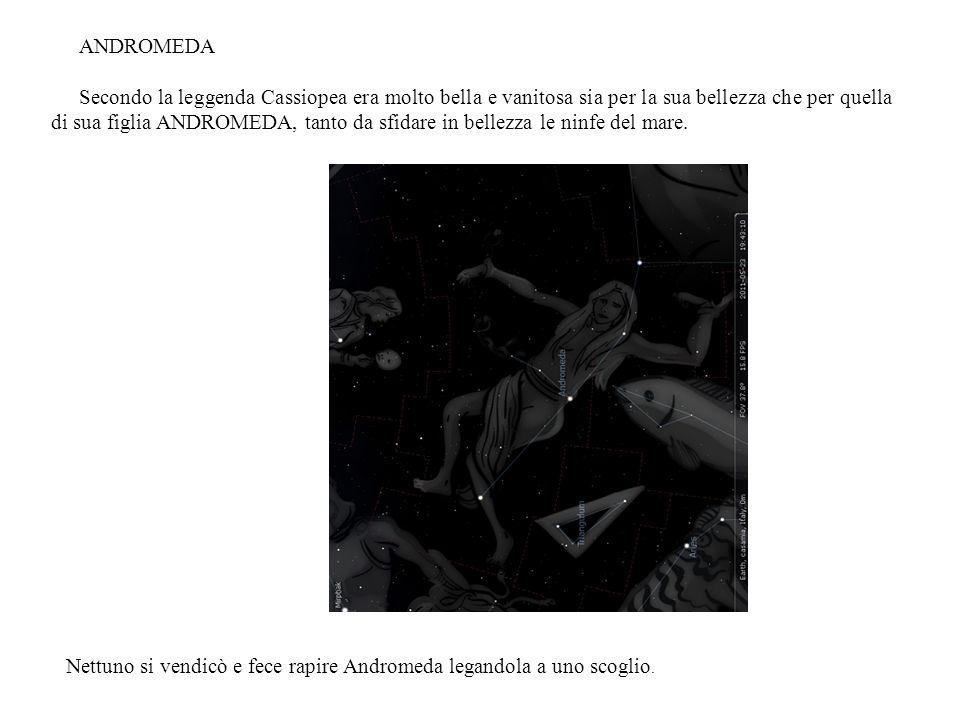 ANDROMEDA Secondo la leggenda Cassiopea era molto bella e vanitosa sia per la sua bellezza che per quella di sua figlia ANDROMEDA, tanto da sfidare in