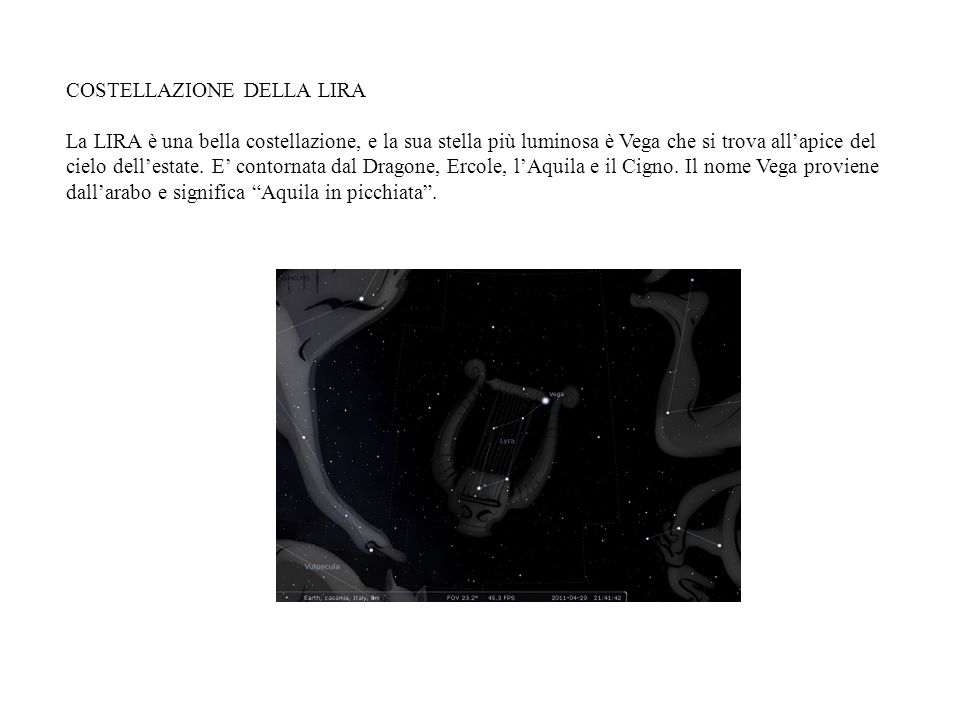 COSTELLAZIONE DELLA LIRA La LIRA è una bella costellazione, e la sua stella più luminosa è Vega che si trova allapice del cielo dellestate. E contorna