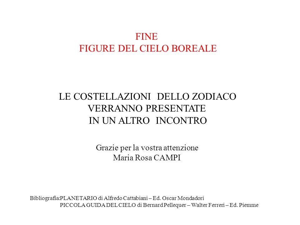 FINE FIGURE DEL CIELO BOREALE LE COSTELLAZIONI DELLO ZODIACO VERRANNO PRESENTATE IN UN ALTRO INCONTRO Bibliografia:PLANETARIO di Alfredo Cattabiani –