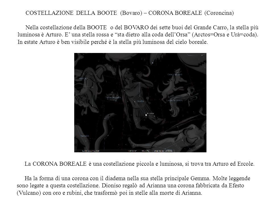 COSTELLAZIONE DELLA BOOTE (Bovaro) – CORONA BOREALE (Coroncina) Nella costellazione della BOOTE o del BOVARO dei sette buoi del Grande Carro, la stell