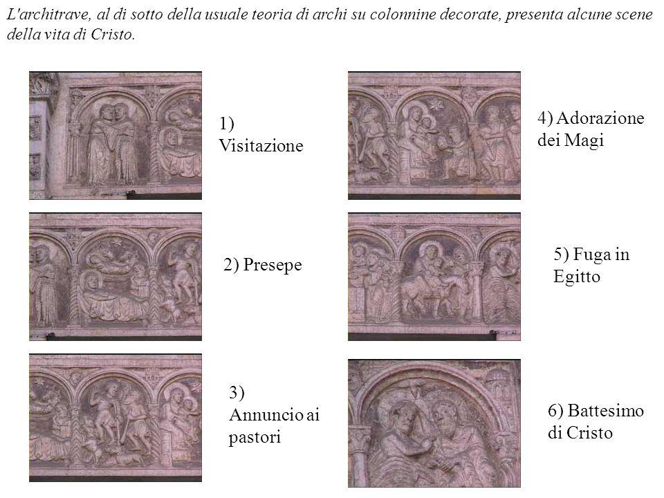 L'architrave, al di sotto della usuale teoria di archi su colonnine decorate, presenta alcune scene della vita di Cristo. 1) Visitazione 2) Presepe 3)