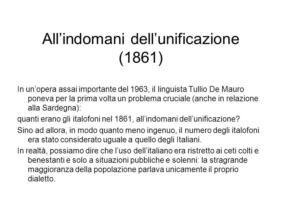 Allindomani dellunificazione (1861) In unopera assai importante del 1963, il linguista Tullio De Mauro poneva per la prima volta un problema cruciale
