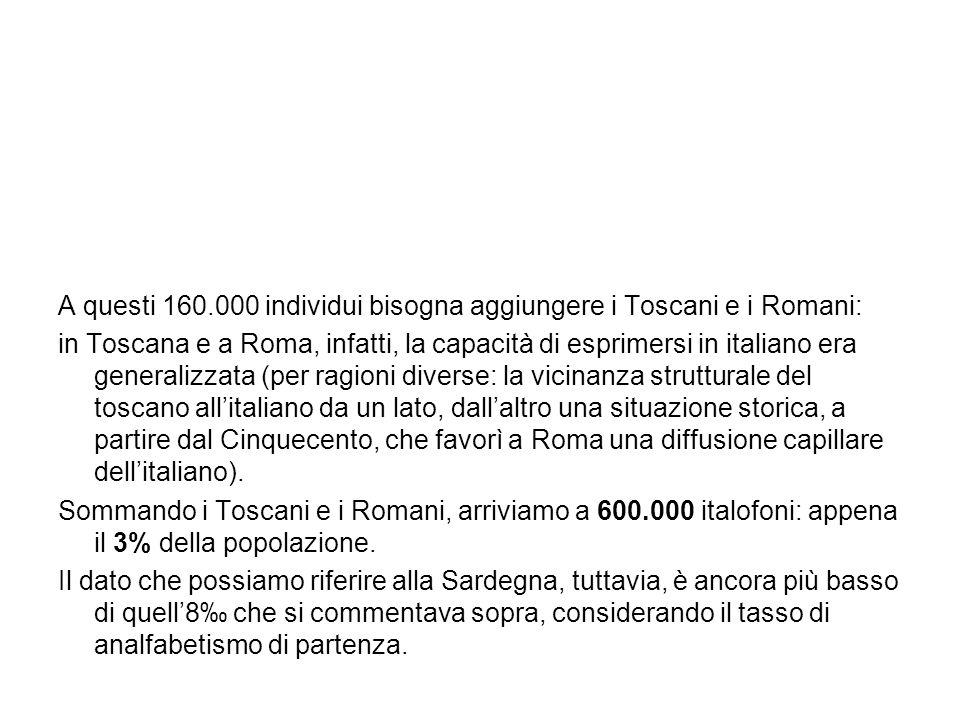 A questi 160.000 individui bisogna aggiungere i Toscani e i Romani: in Toscana e a Roma, infatti, la capacità di esprimersi in italiano era generalizz