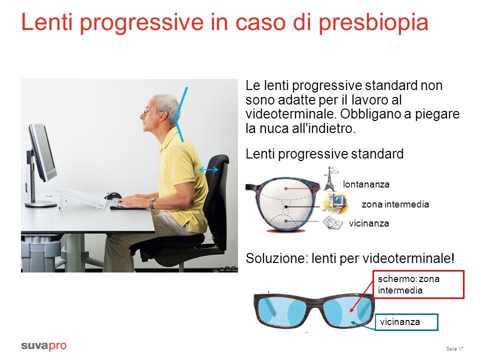 Seite 17 Lenti progressive in caso di presbiopia Soluzione: lenti per videoterminale! Le lenti progressive standard non sono adatte per il lavoro al v
