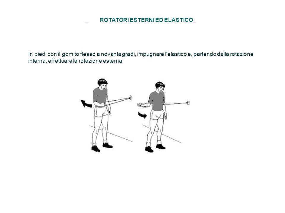 ROTATORI ESTERNI ED ELASTICO In piedi con il gomito flesso a novanta gradi, impugnare l'elastico e, partendo dalla rotazione interna, effettuare la ro