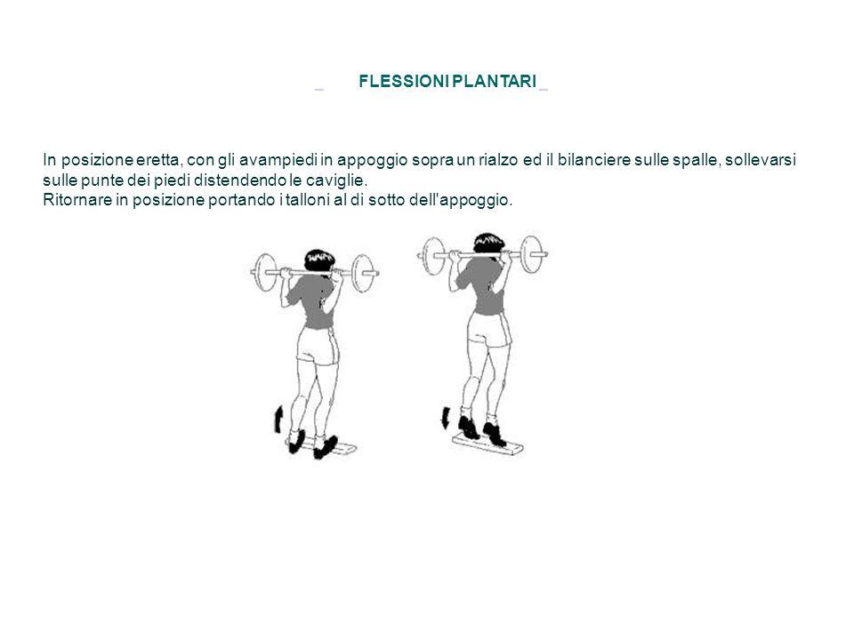 FLESSIONI PLANTARI In posizione eretta, con gli avampiedi in appoggio sopra un rialzo ed il bilanciere sulle spalle, sollevarsi sulle punte dei piedi