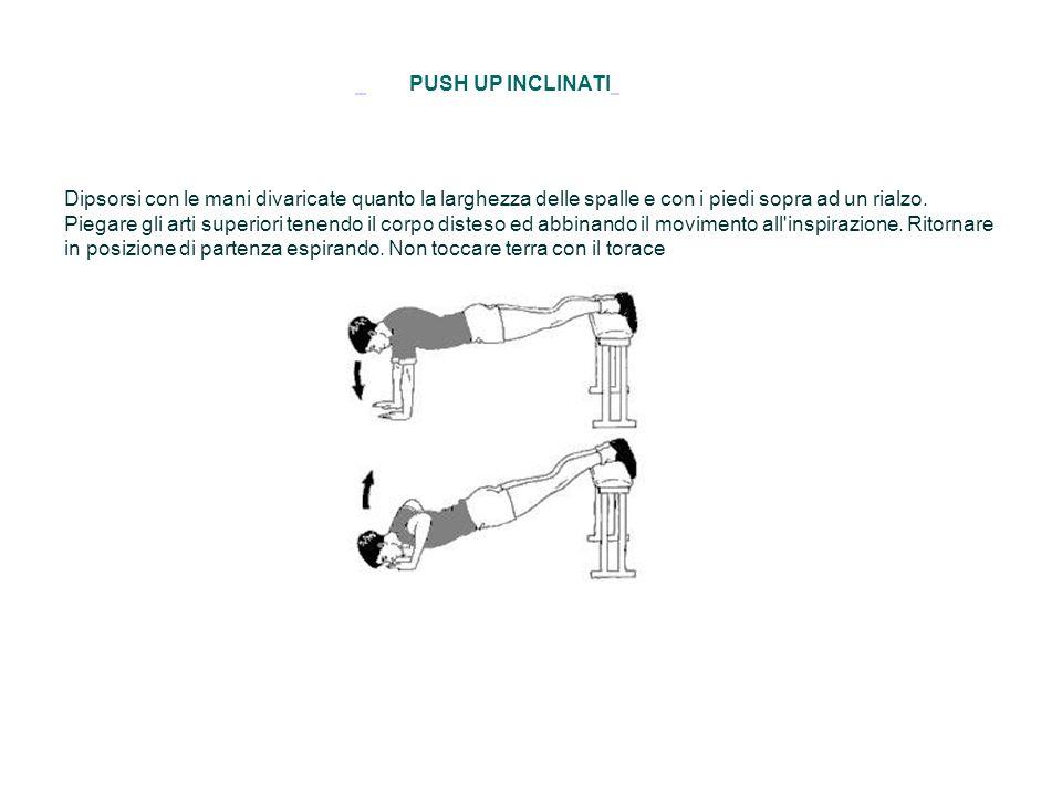 PUSH UP INCLINATI Dipsorsi con le mani divaricate quanto la larghezza delle spalle e con i piedi sopra ad un rialzo. Piegare gli arti superiori tenend