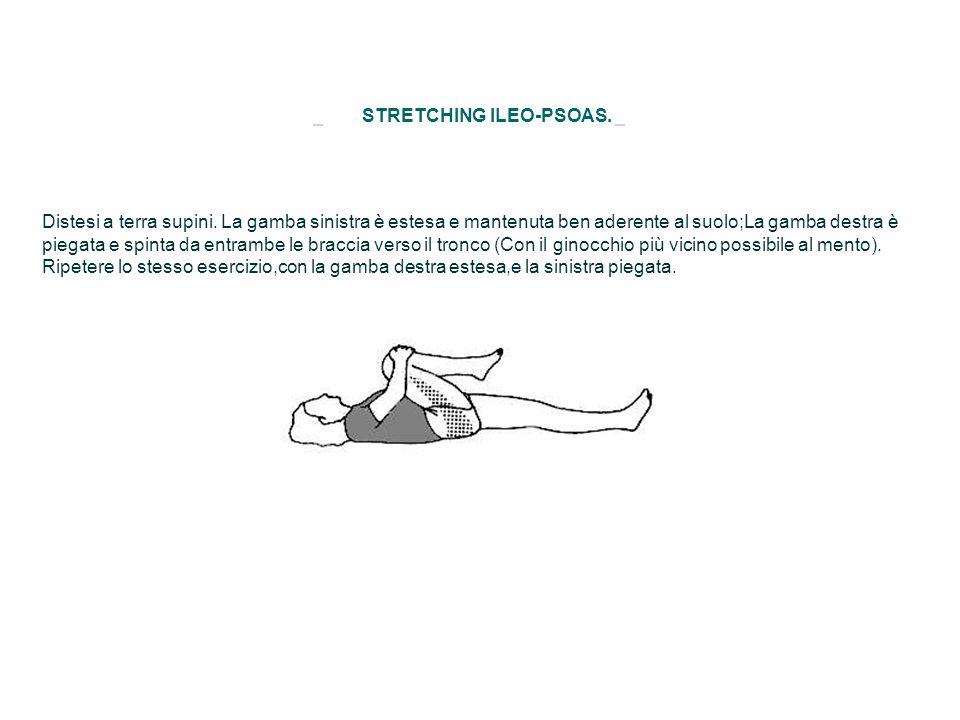 STRETCHING ILEO-PSOAS. Distesi a terra supini. La gamba sinistra è estesa e mantenuta ben aderente al suolo;La gamba destra è piegata e spinta da entr