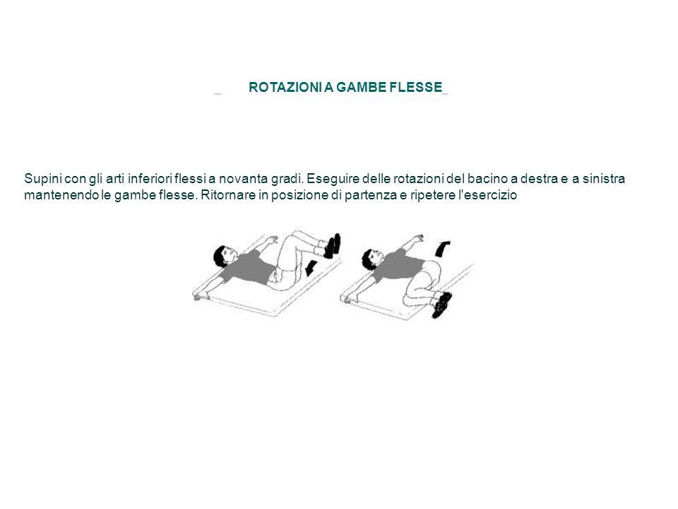 ROTAZIONI A GAMBE FLESSE Supini con gli arti inferiori flessi a novanta gradi. Eseguire delle rotazioni del bacino a destra e a sinistra mantenendo le