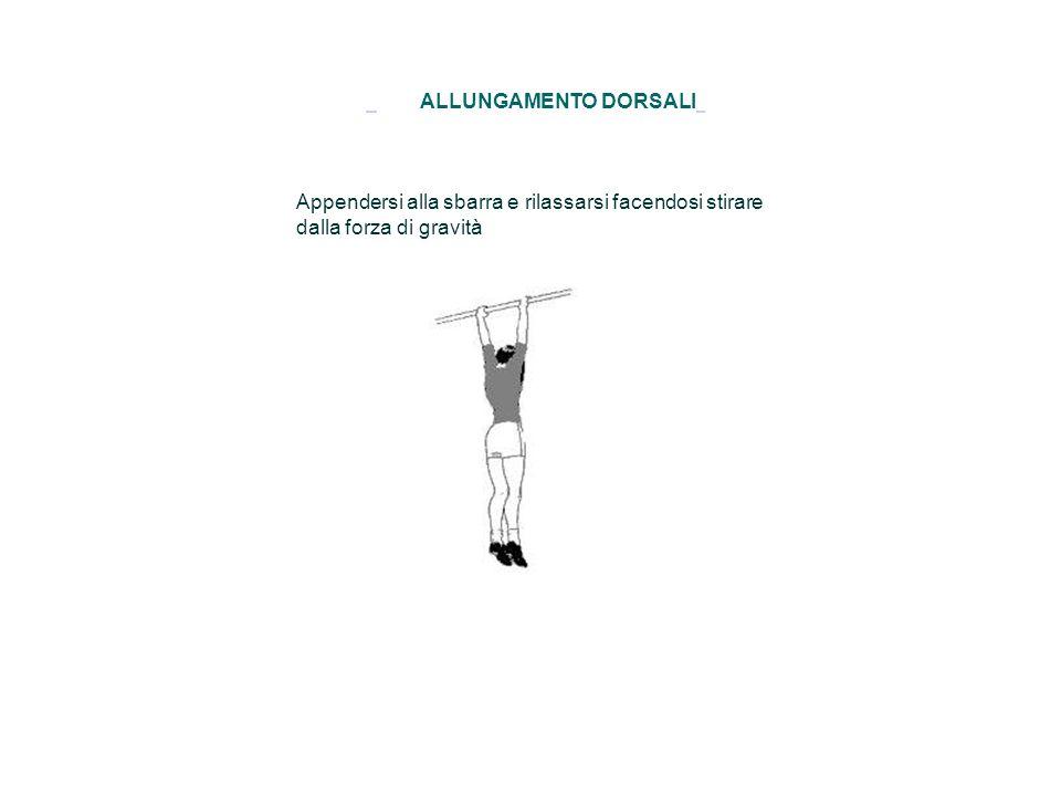 GINOCCHIA AL PETTO Supini tenendo la schiena aderente al pavimento, flettere le gambe e afferrare le ginocchia con le mani.