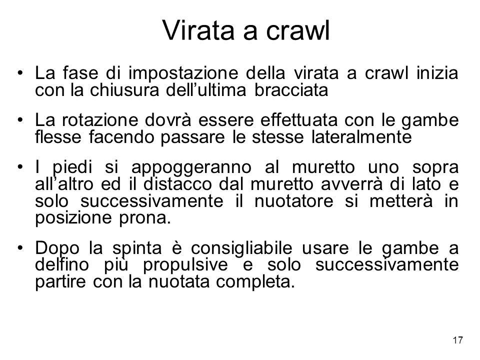 17 Virata a crawl La fase di impostazione della virata a crawl inizia con la chiusura dellultima bracciata La rotazione dovrà essere effettuata con le