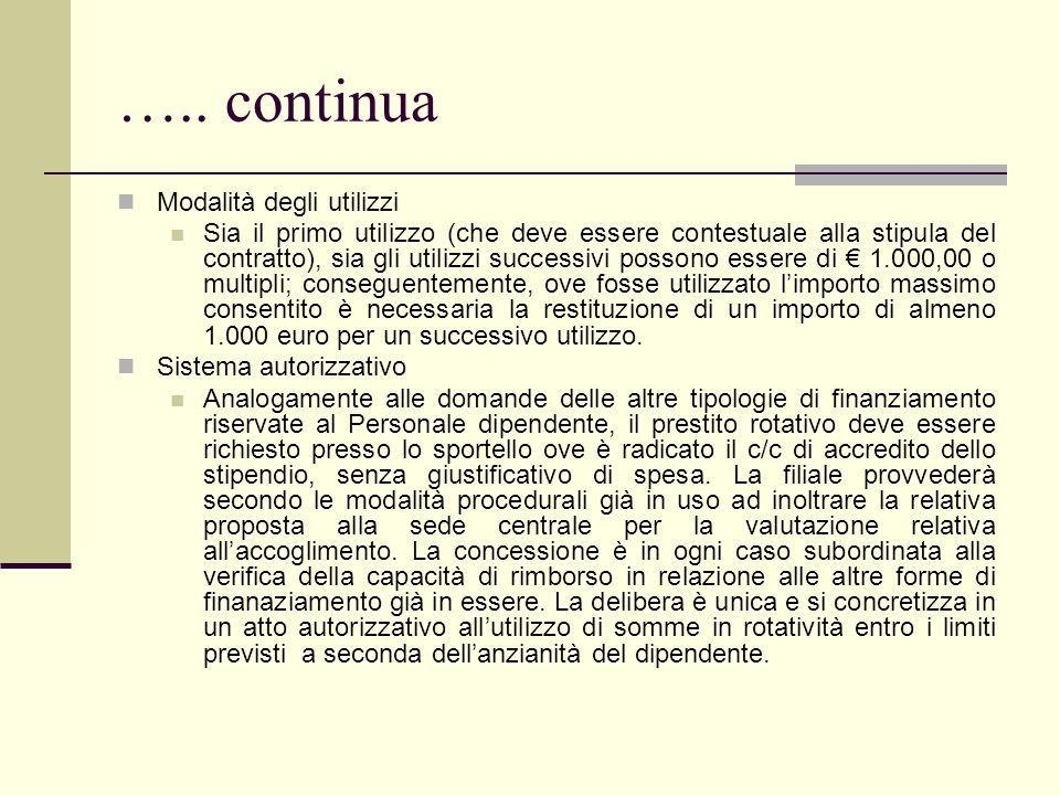 ….. continua Modalità degli utilizzi Sia il primo utilizzo (che deve essere contestuale alla stipula del contratto), sia gli utilizzi successivi posso