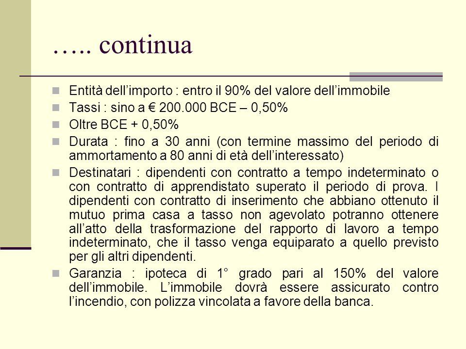 ….. continua Entità dellimporto : entro il 90% del valore dellimmobile Tassi : sino a 200.000 BCE – 0,50% Oltre BCE + 0,50% Durata : fino a 30 anni (c