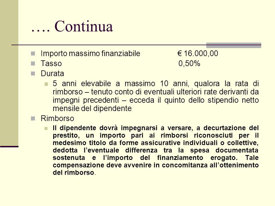 …. Continua Importo massimo finanziabile 16.000,00 Tasso 0,50% Durata 5 anni elevabile a massimo 10 anni, qualora la rata di rimborso – tenuto conto d