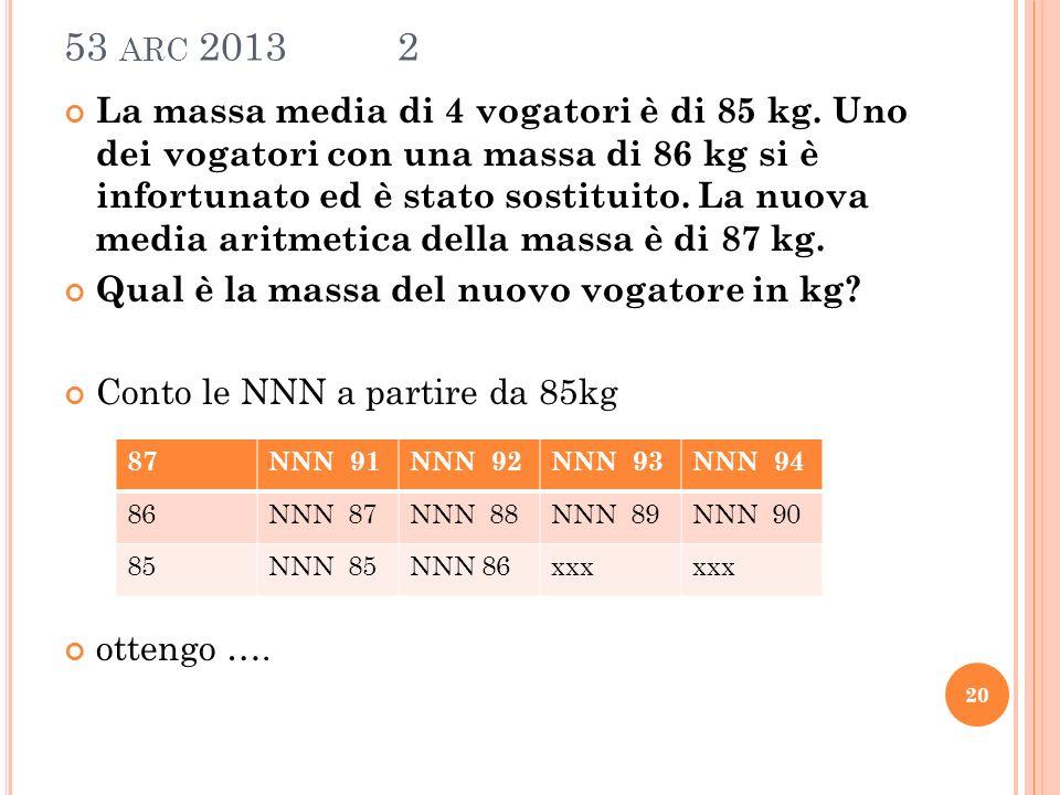 53 ARC 2013 2 La massa media di 4 vogatori è di 85 kg.
